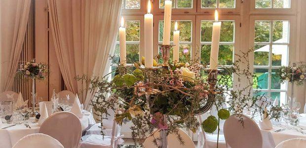 Tischschmuck Hochzeit Rosa Detail